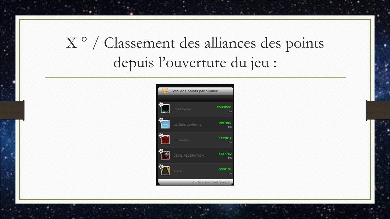 X ° / Classement des alliances des points depuis l'ouverture du jeu :