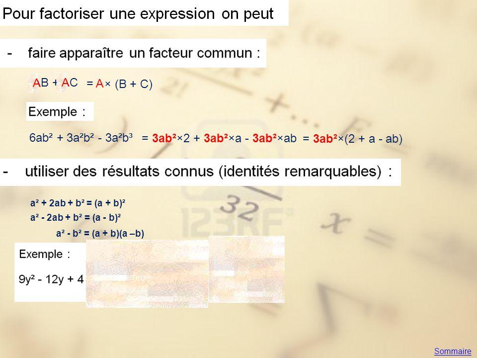 AB + AC A A = A × (B + C) 6ab² + 3a²b² - 3a²b³ = 3ab²×2 + 3ab²×a - 3ab²×ab = 3ab²×(2 + a - ab) a² + 2ab + b² = (a + b)² a² - 2ab + b² = (a - b)² a² -