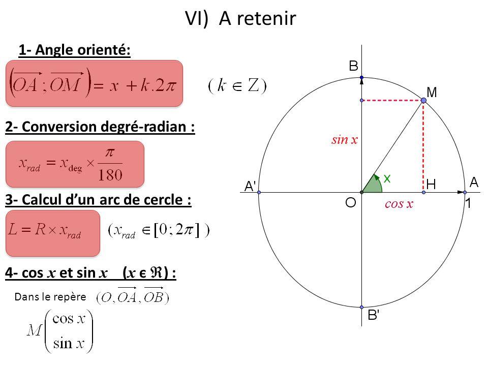 VI) A retenir 1- Angle orienté: 2- Conversion degré-radian : 3- Calcul d'un arc de cercle : 4- cos x et sin x ( x є  ) : Dans le repère