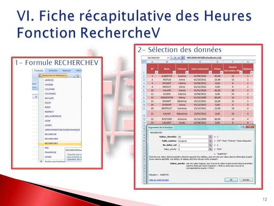 12 2- Sélection des données 1- Formule RECHERCHEV