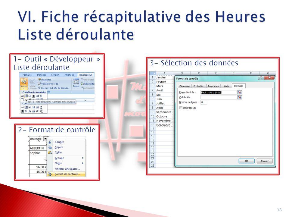 2- Format de contrôle 1- Outil « Développeur » Liste déroulante 13 3- Sélection des données