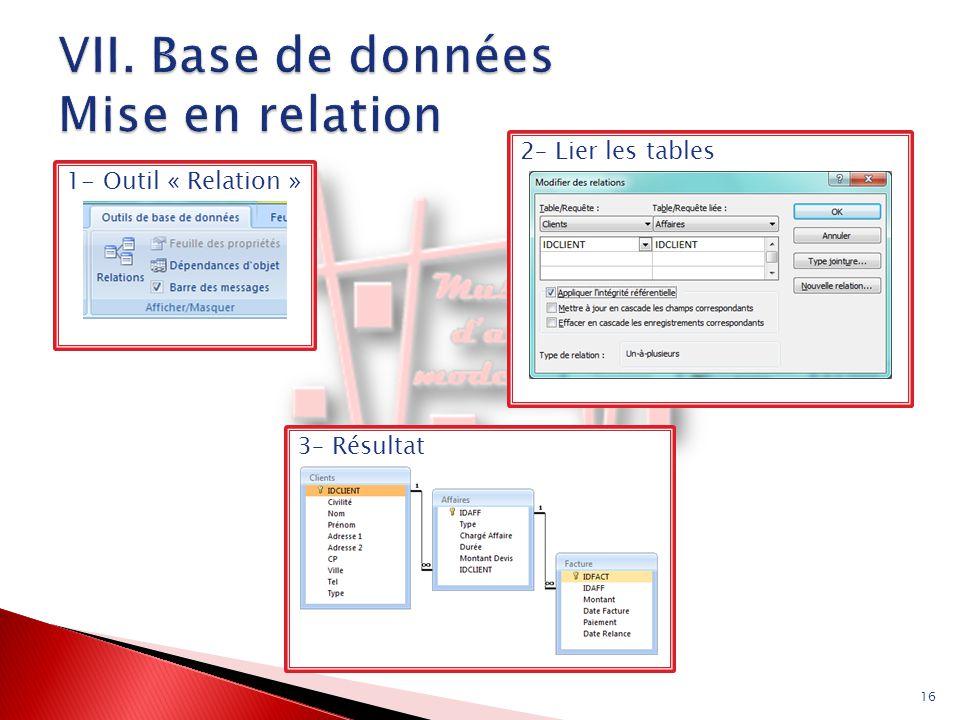 16 1- Outil « Relation »2– Lier les tables3– Résultat
