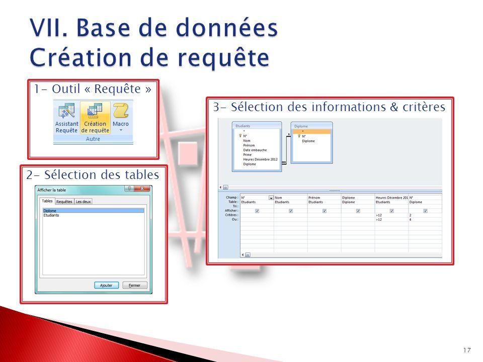 2- Sélection des tables 1- Outil « Requête » 17 3- Sélection des informations & critères
