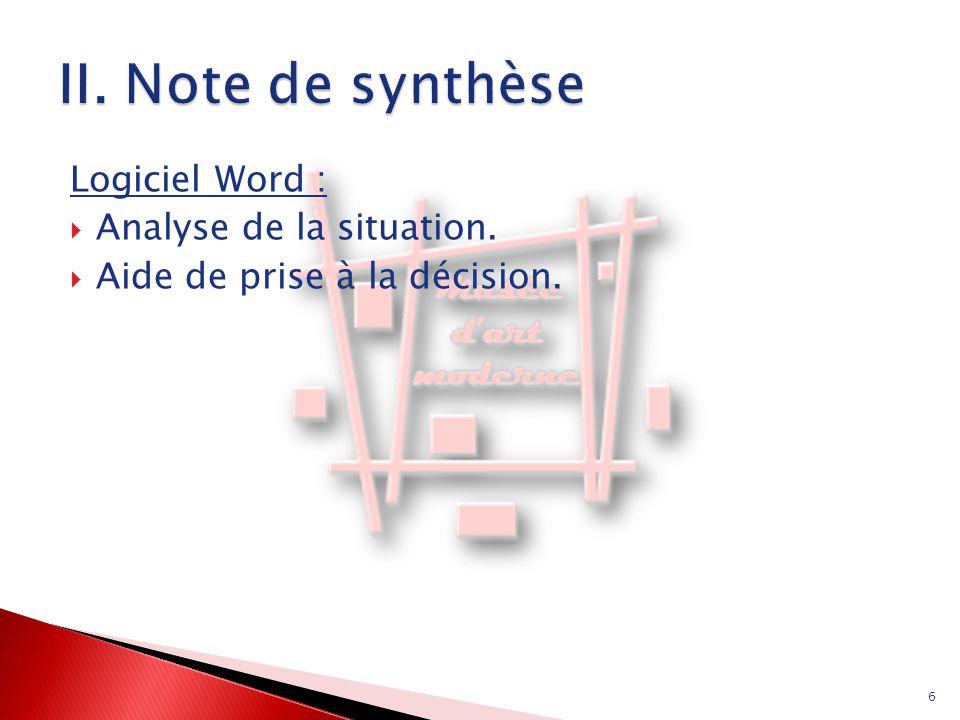 Logiciel Word :  Analyse de la situation.  Aide de prise à la décision. 6