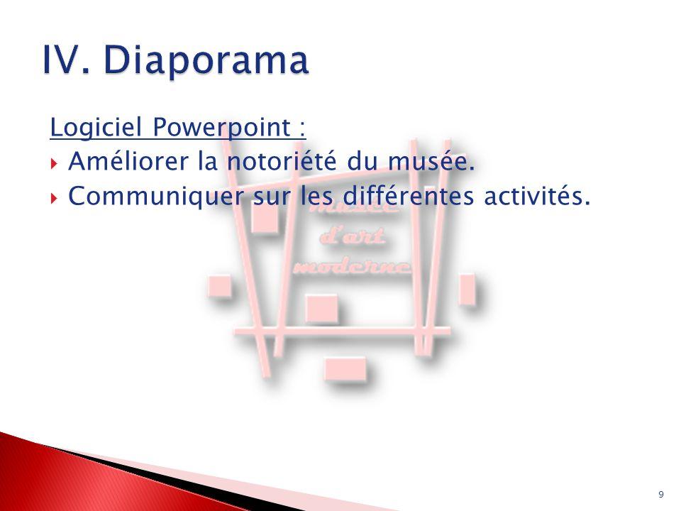 Logiciel Powerpoint :  Améliorer la notoriété du musée.  Communiquer sur les différentes activités. 9