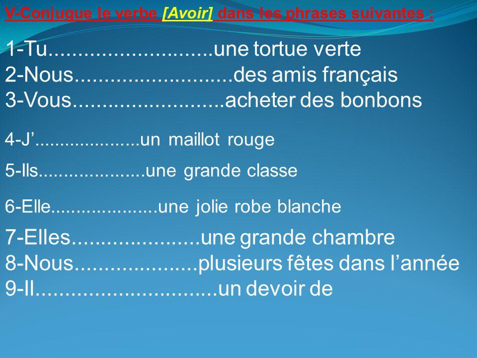 V-Conjugue le verbe [Avoir] dans les phrases suivantes : 1-Tu............................une tortue verte 2-Nous...........................des amis fr