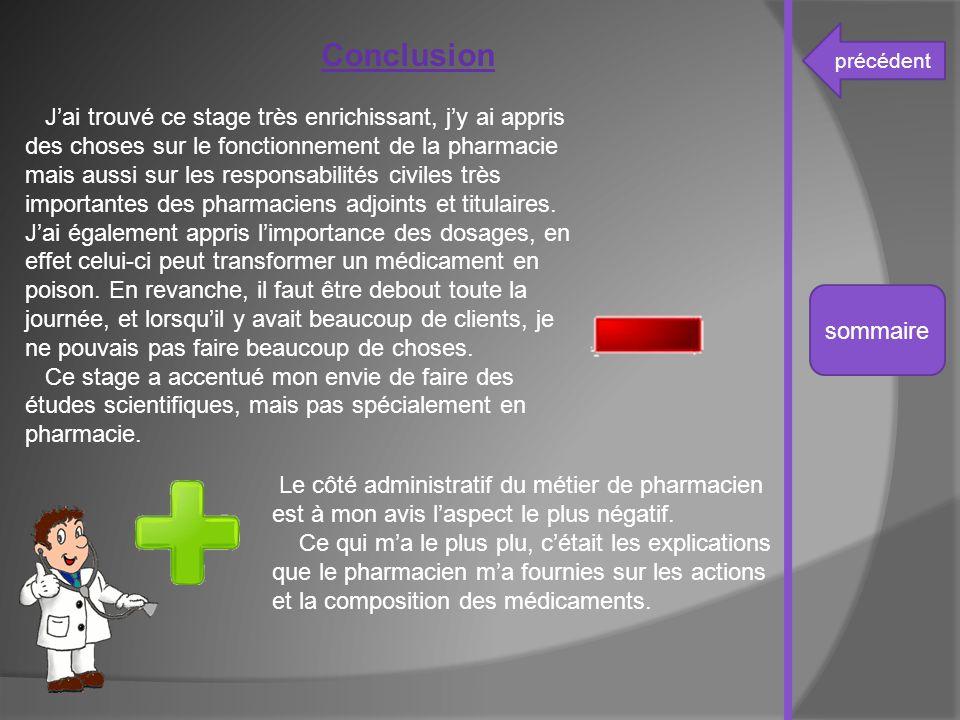 précédent sommaire Conclusion J'ai trouvé ce stage très enrichissant, j'y ai appris des choses sur le fonctionnement de la pharmacie mais aussi sur le