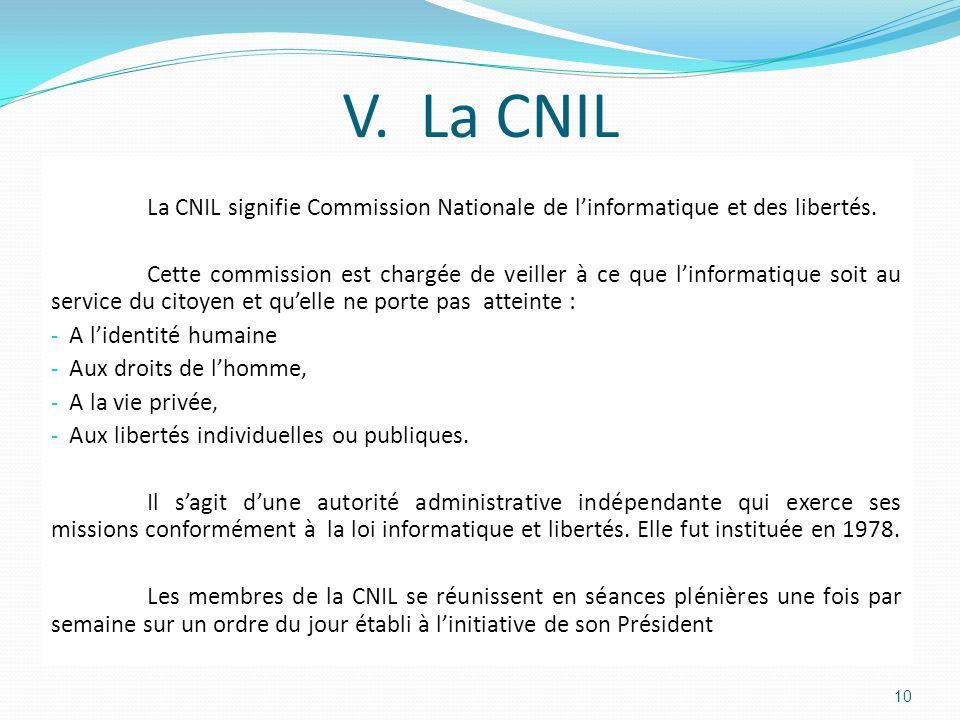 V. La CNIL La CNIL signifie Commission Nationale de l'informatique et des libertés.