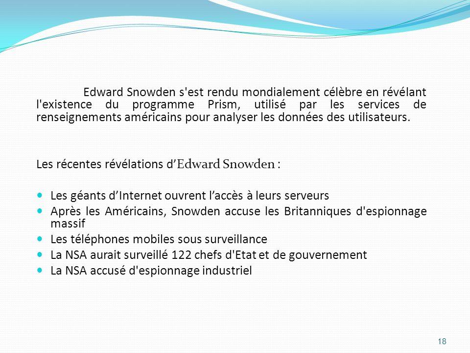 Edward Snowden s est rendu mondialement célèbre en révélant l existence du programme Prism, utilisé par les services de renseignements américains pour analyser les données des utilisateurs.
