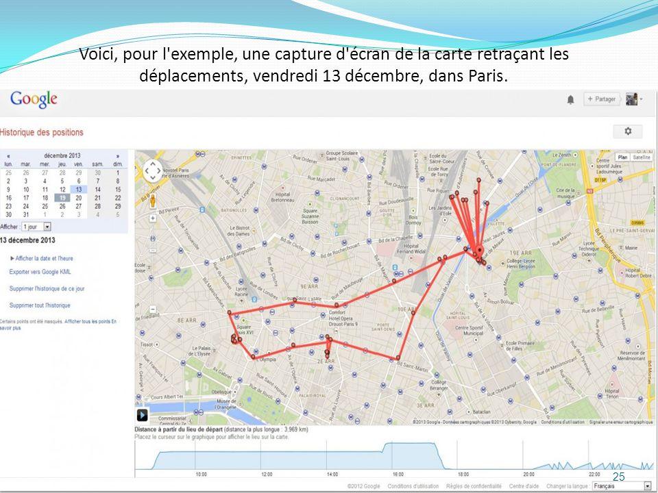 Voici, pour l exemple, une capture d écran de la carte retraçant les déplacements, vendredi 13 décembre, dans Paris.