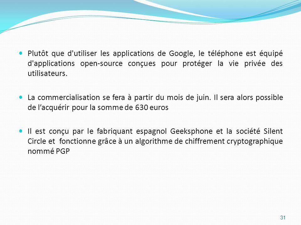 Plutôt que d utiliser les applications de Google, le téléphone est équipé d applications open-source conçues pour protéger la vie privée des utilisateurs.
