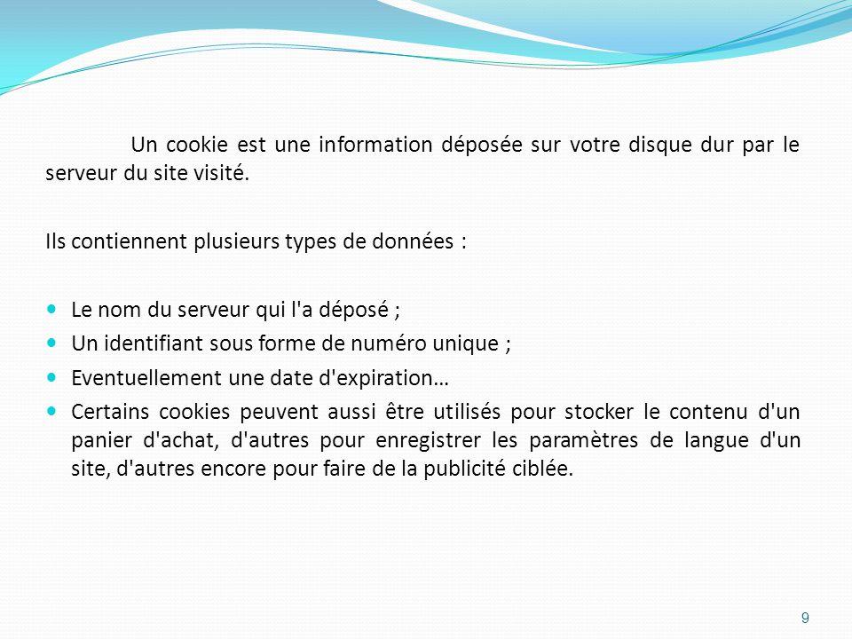 Un cookie est une information déposée sur votre disque dur par le serveur du site visité.