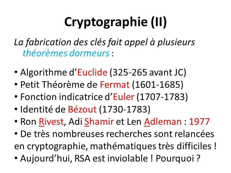 Cryptographie (II) La fabrication des clés fait appel à plusieurs théorèmes dormeurs : Algorithme d'Euclide (325-265 avant JC) Petit Théorème de Ferma
