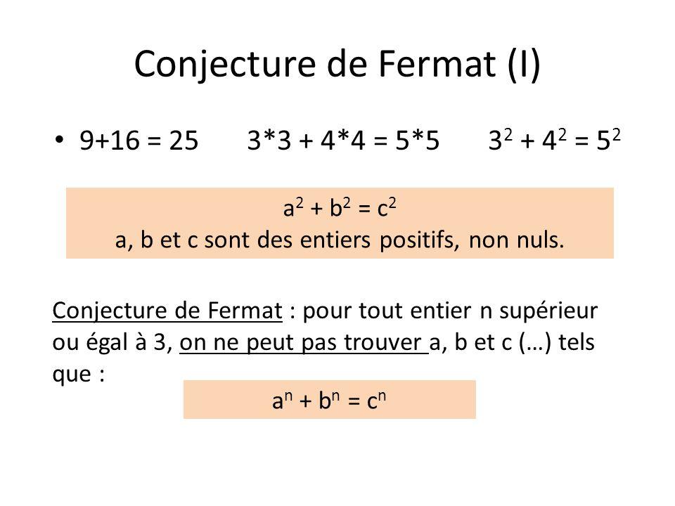 Conjecture de Fermat (I) 9+16 = 25 3*3 + 4*4 = 5*5 3 2 + 4 2 = 5 2 Conjecture de Fermat : pour tout entier n supérieur ou égal à 3, on ne peut pas tro
