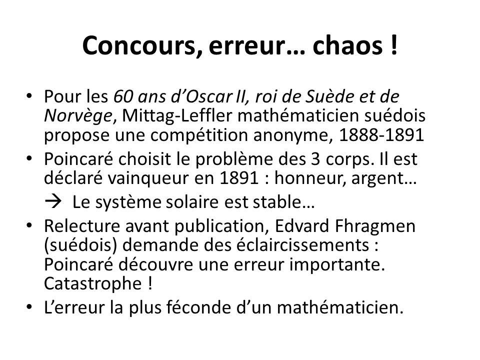 Concours, erreur… chaos ! Pour les 60 ans d'Oscar II, roi de Suède et de Norvège, Mittag-Leffler mathématicien suédois propose une compétition anonyme
