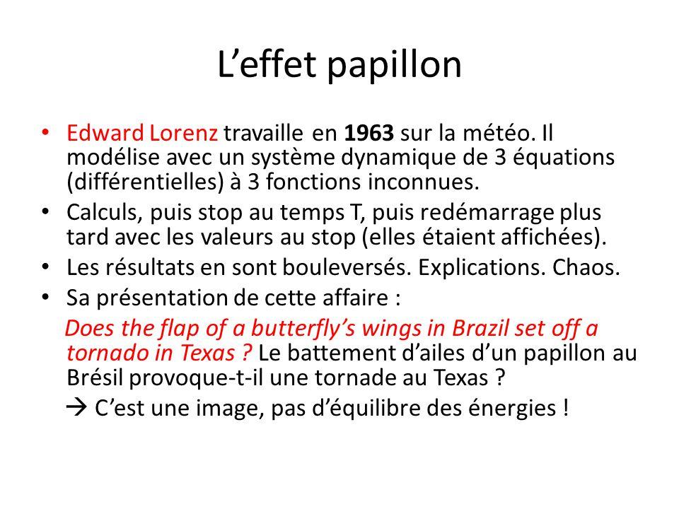 L'effet papillon Edward Lorenz travaille en 1963 sur la météo. Il modélise avec un système dynamique de 3 équations (différentielles) à 3 fonctions in