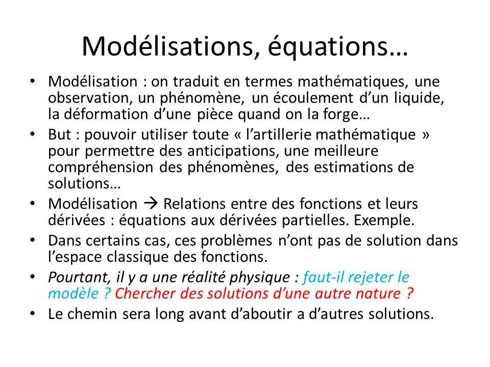 Modélisations, équations… Modélisation : on traduit en termes mathématiques, une observation, un phénomène, un écoulement d'un liquide, la déformation