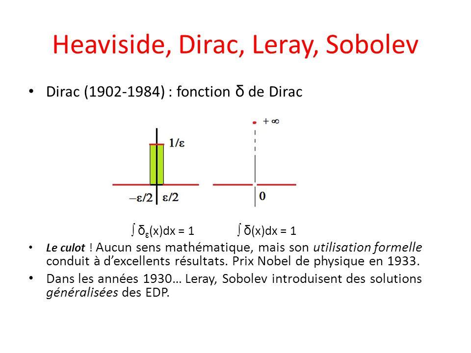 Heaviside, Dirac, Leray, Sobolev Dirac (1902-1984) : fonction δ de Dirac  δ ε (x)dx = 1  δ (x)dx = 1 Le culot ! Aucun sens mathématique, mais son ut