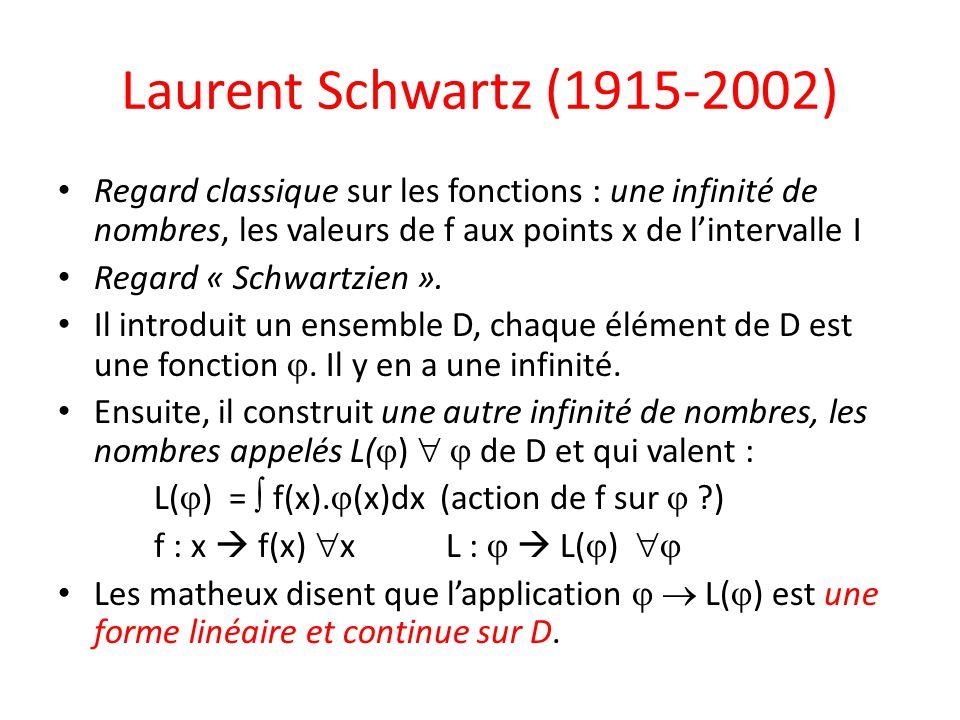 Laurent Schwartz (1915-2002) Regard classique sur les fonctions : une infinité de nombres, les valeurs de f aux points x de l'intervalle I Regard « Sc