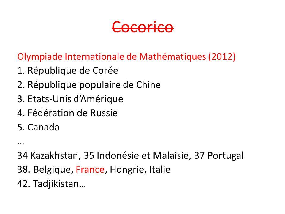Cocorico Olympiade Internationale de Mathématiques (2012) 1. République de Corée 2. République populaire de Chine 3. Etats-Unis d'Amérique 4. Fédérati