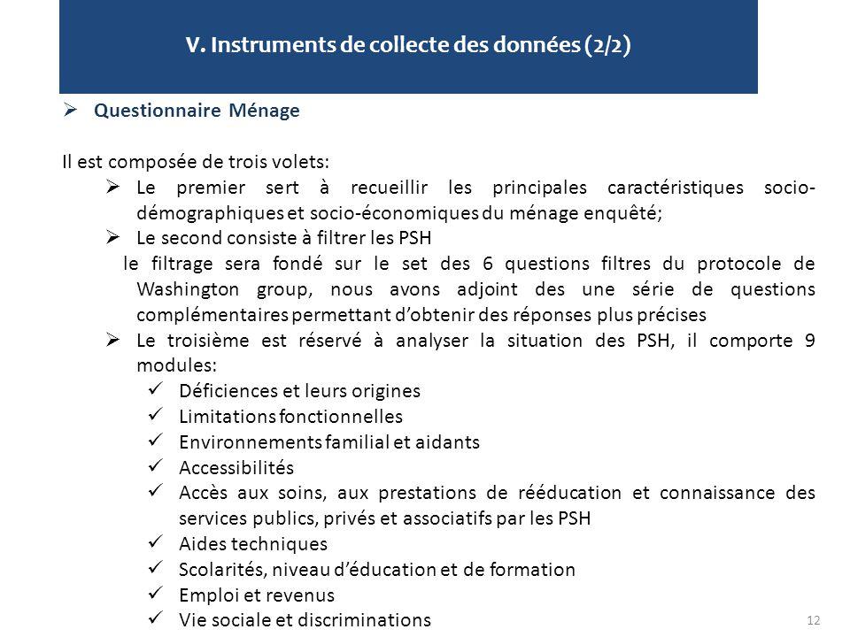 V. Instruments de collecte des données (2/2) 12  Questionnaire Ménage Il est composée de trois volets:  Le premier sert à recueillir les principales
