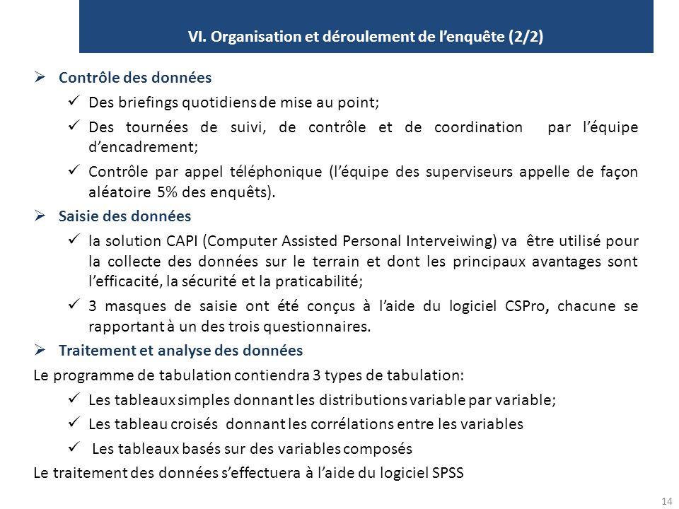 VI. Organisation et déroulement de l'enquête (2/2) 14  Contrôle des données Des briefings quotidiens de mise au point; Des tournées de suivi, de cont
