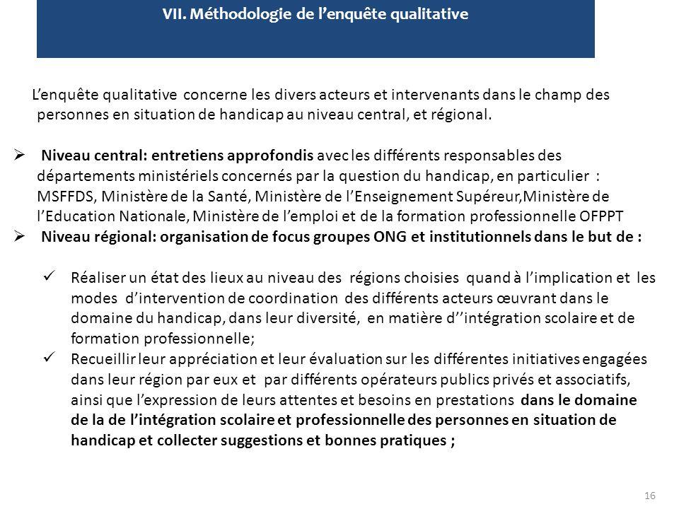 VII. Méthodologie de l'enquête qualitative L'enquête qualitative concerne les divers acteurs et intervenants dans le champ des personnes en situation