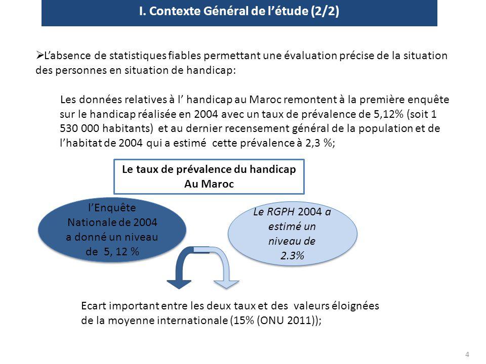 I. Contexte Général de l'étude (2/2) 4  L'absence de statistiques fiables permettant une évaluation précise de la situation des personnes en situatio