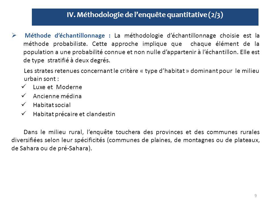 IV. Méthodologie de l'enquête quantitative (2/3) 9  Méthode d'échantillonnage : La méthodologie d'échantillonnage choisie est la méthode probabiliste