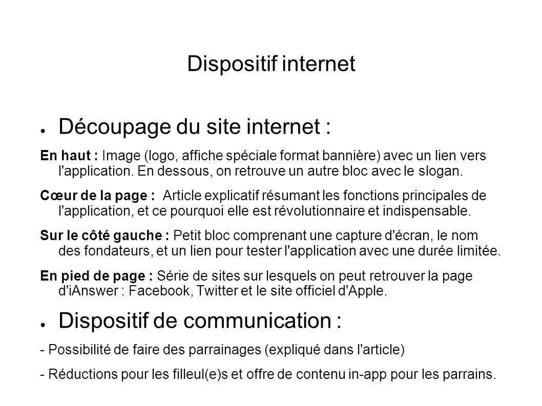 Dispositif internet ● Découpage du site internet : En haut : Image (logo, affiche spéciale format bannière) avec un lien vers l'application. En dessou