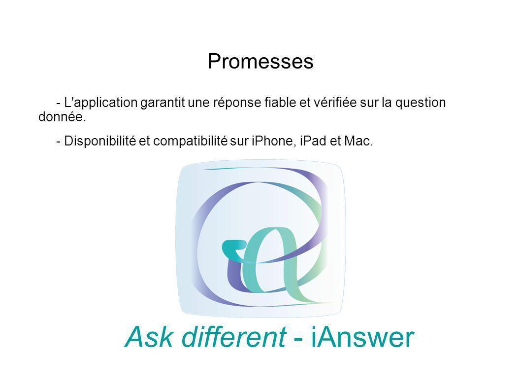 Promesses - L'application garantit une réponse fiable et vérifiée sur la question donnée. - Disponibilité et compatibilité sur iPhone, iPad et Mac. As