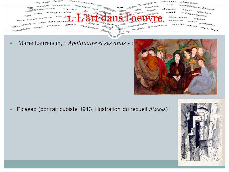 1. L'art dans l'oeuvre Marie Laurencin, « Apollinaire et ses amis » : Picasso (portrait cubiste 1913, illustration du recueil Alcools ) :