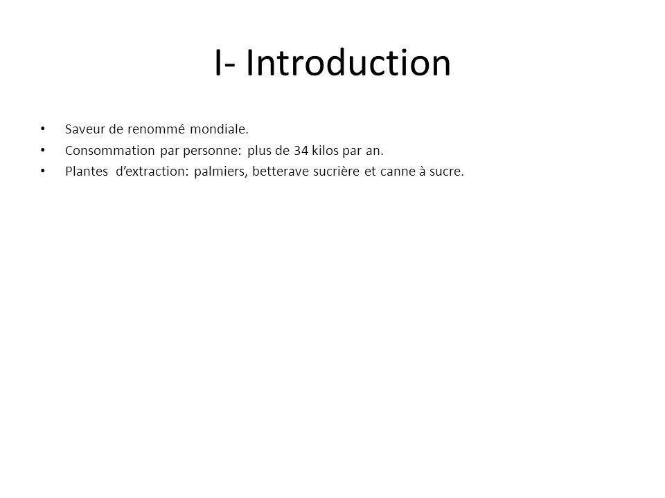 I- Introduction Saveur de renommé mondiale. Consommation par personne: plus de 34 kilos par an.