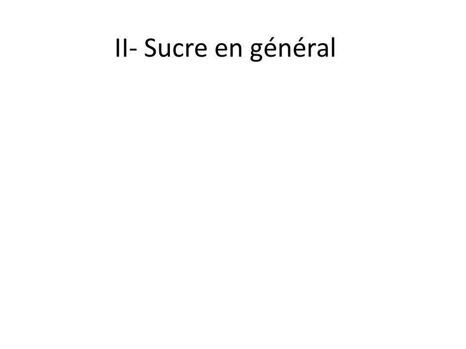 II- Sucre en général