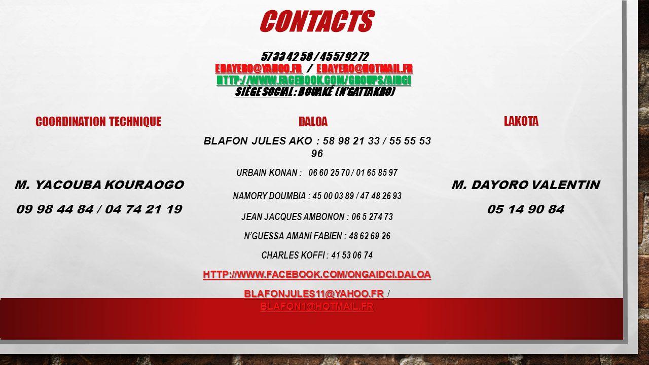EDAYERO@YAHOO.FREDAYERO@YAHOO.FR EDAYERO@HOTMAIL.FR HTTP://WWW.FACEBOOK.COM/GROUPS/AIDCI CONTACTS 57 33 42 58 / 45 57 92 72 EDAYERO@YAHOO.FR / EDAYERO