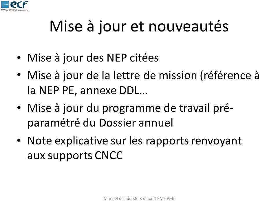 Mise à jour et nouveautés Mise à jour des NEP citées Mise à jour de la lettre de mission (référence à la NEP PE, annexe DDL… Mise à jour du programme