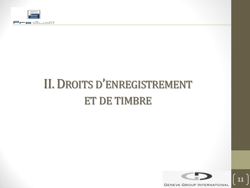 II. D ROITS D ' ENREGISTREMENT ET DE TIMBRE 11