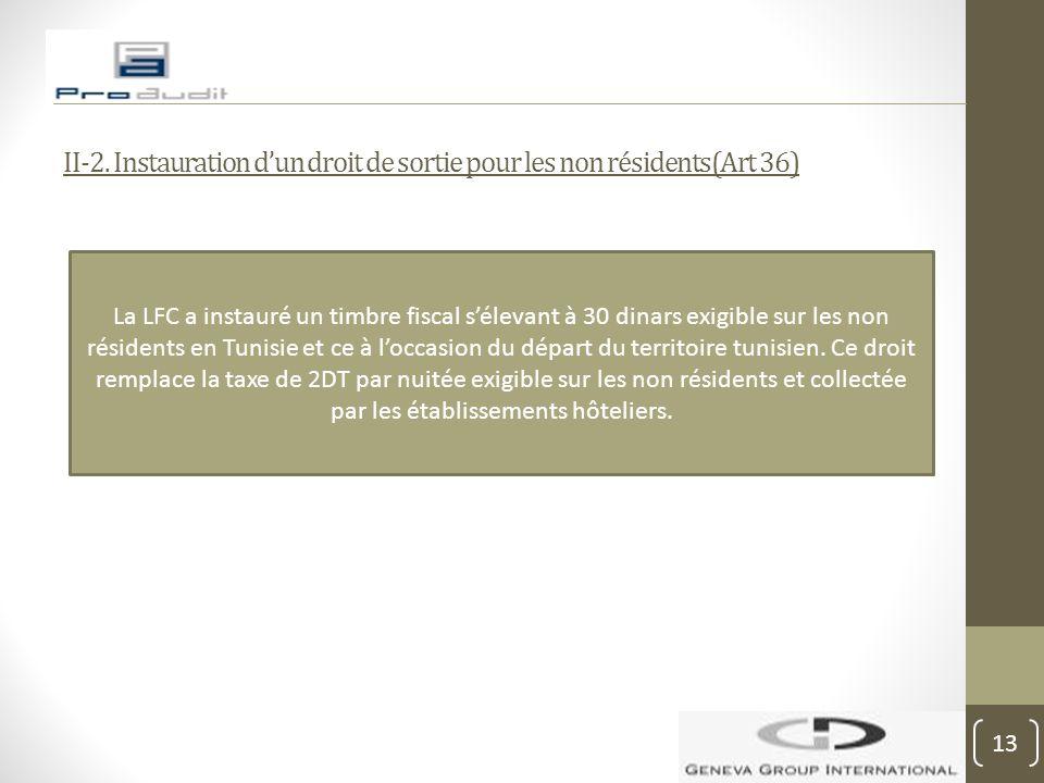 II-2. Instauration d'un droit de sortie pour les non résidents(Art 36) La LFC a instauré un timbre fiscal s'élevant à 30 dinars exigible sur les non r
