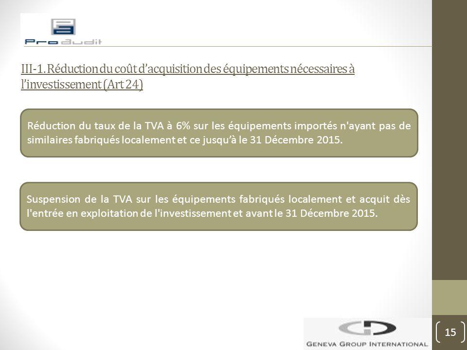III-1. Réduction du coût d'acquisition des équipements nécessaires à l'investissement (Art 24) Réduction du taux de la TVA à 6% sur les équipements im