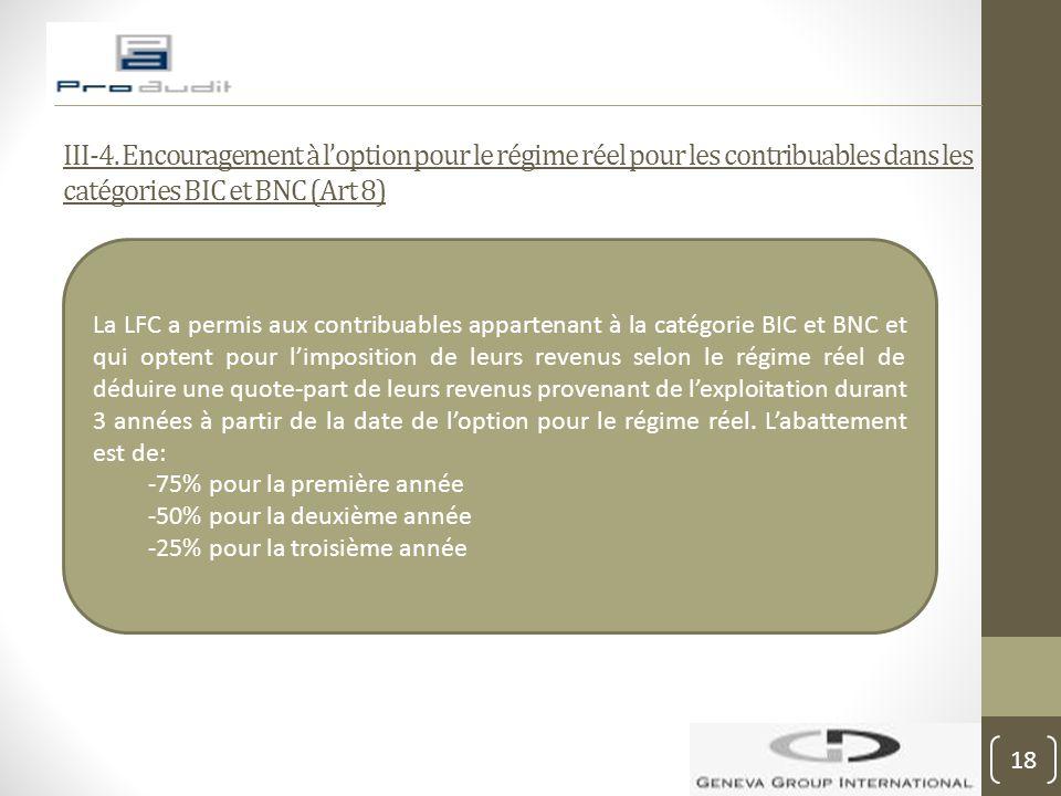 III-4. Encouragement à l'option pour le régime réel pour les contribuables dans les catégories BIC et BNC (Art 8) La LFC a permis aux contribuables ap