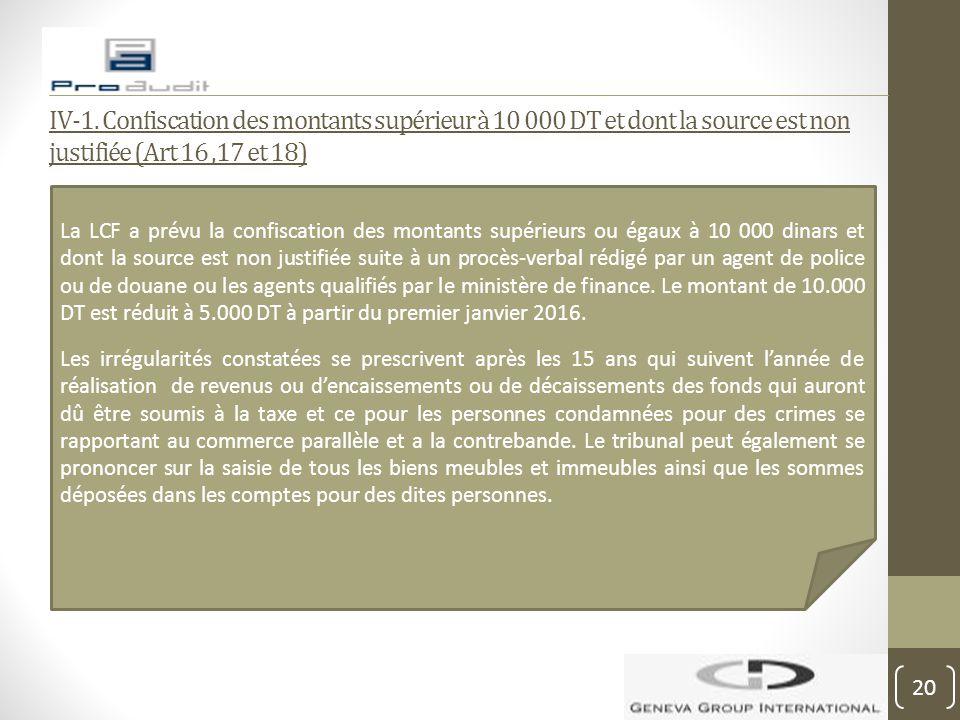 IV-1. Confiscation des montants supérieur à 10 000 DT et dont la source est non justifiée (Art 16,17 et 18) La LCF a prévu la confiscation des montant
