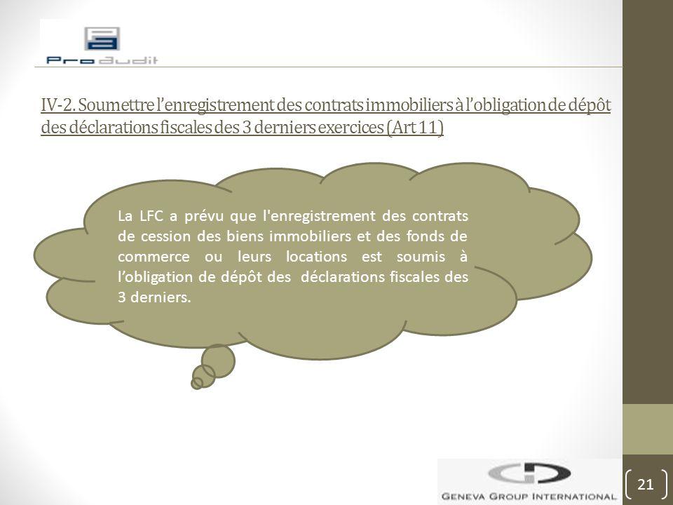 IV-2. Soumettre l'enregistrement des contrats immobiliers à l'obligation de dépôt des déclarations fiscales des 3 derniers exercices (Art 11) La LFC a
