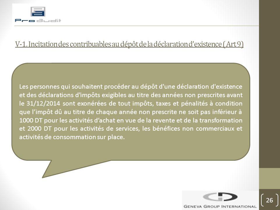 V-1. Incitation des contribuables au dépôt de la déclaration d'existence ( Art 9) Les personnes qui souhaitent procéder au dépôt d'une déclaration d'e