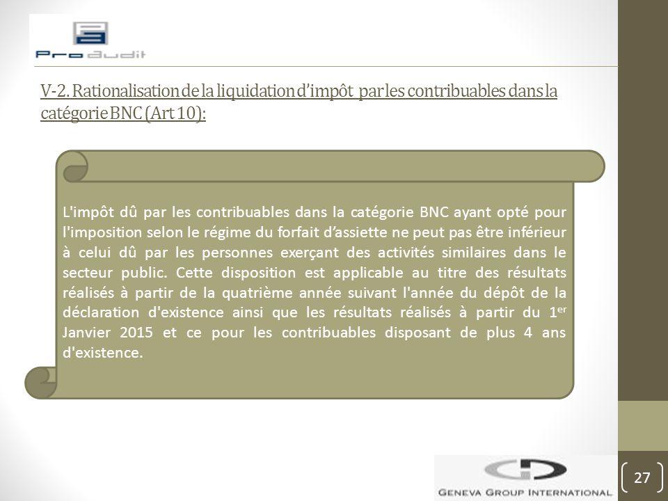 V-2. Rationalisation de la liquidation d'impôt par les contribuables dans la catégorie BNC (Art 10): L'impôt dû par les contribuables dans la catégori