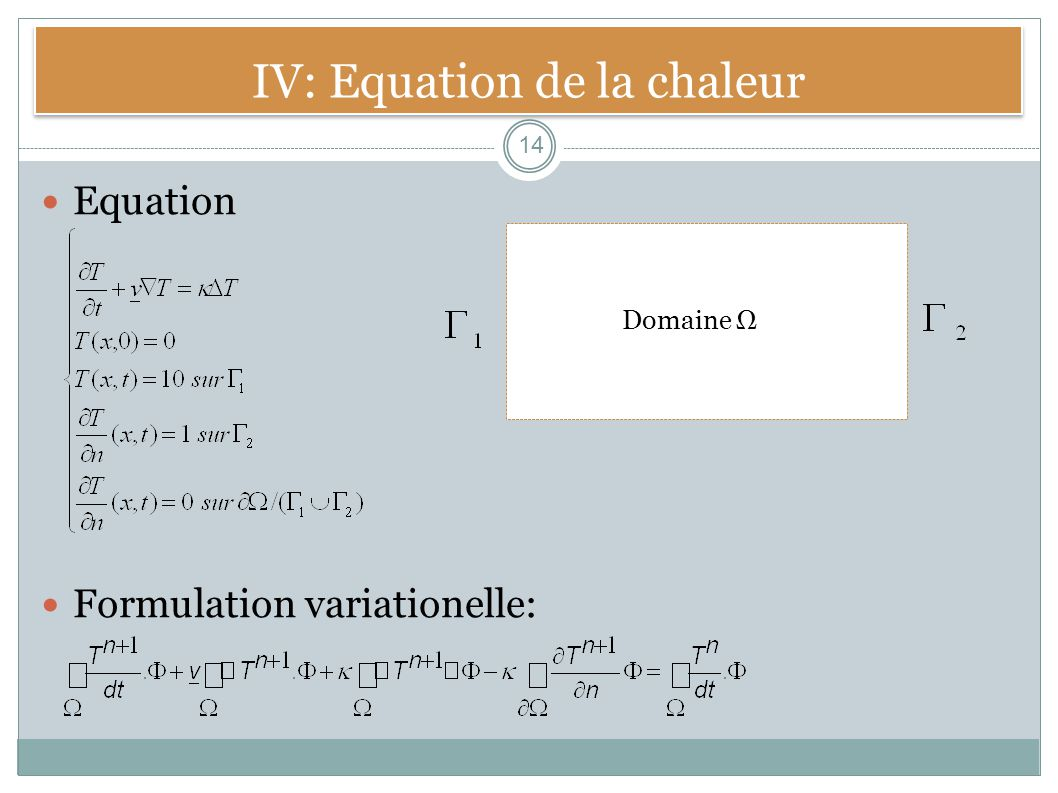 IV: Equation de la chaleur Equation Formulation variationelle: 14 Domaine Ω