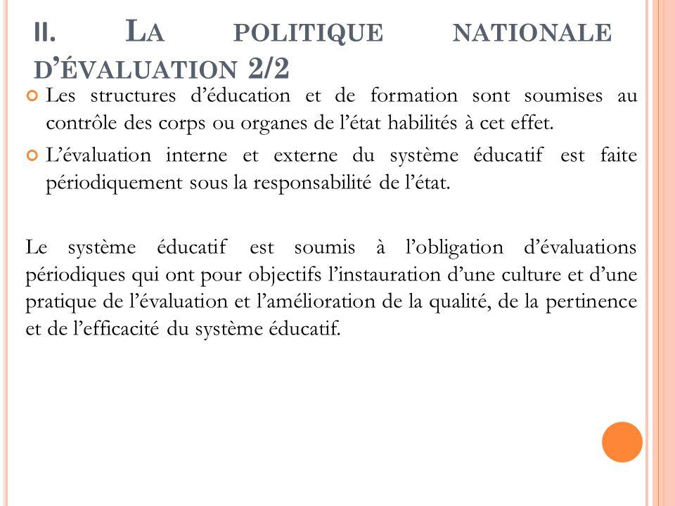 II. L A POLITIQUE NATIONALE D ' ÉVALUATION 2/2 Les structures d'éducation et de formation sont soumises au contrôle des corps ou organes de l'état hab