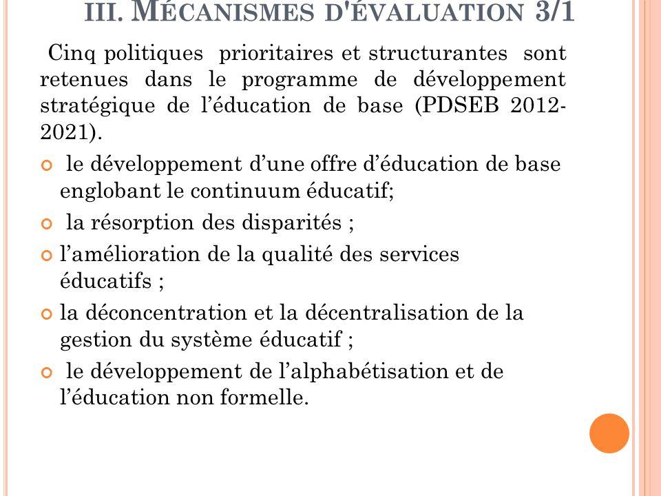 III. M ÉCANISMES D ' ÉVALUATION 3/1 Cinq politiques prioritaires et structurantes sont retenues dans le programme de développement stratégique de l'éd