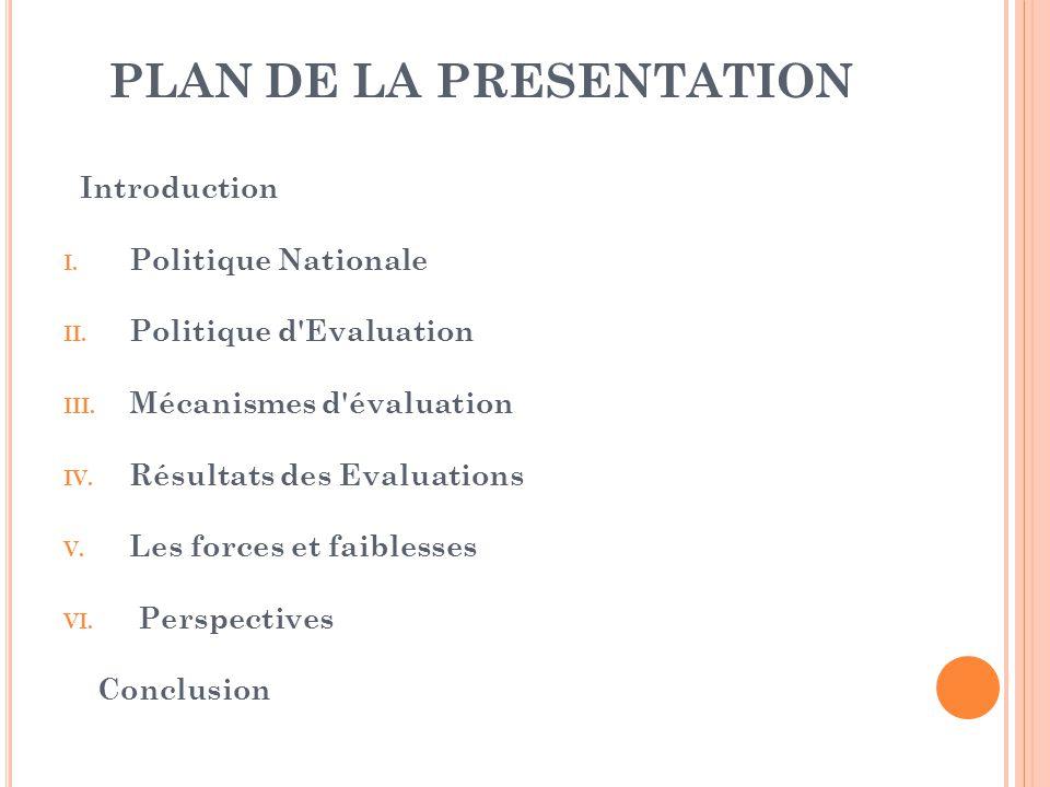 PLAN DE LA PRESENTATION Introduction I.Politique Nationale II.