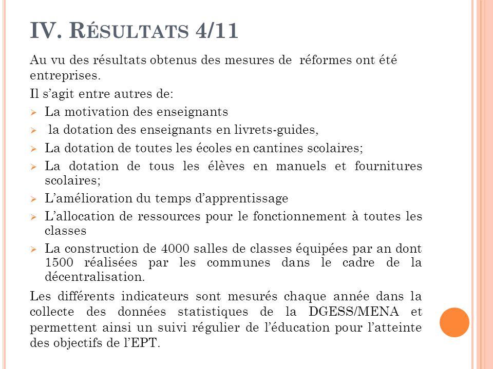 IV.R ÉSULTATS 4/11 Au vu des résultats obtenus des mesures de réformes ont été entreprises.
