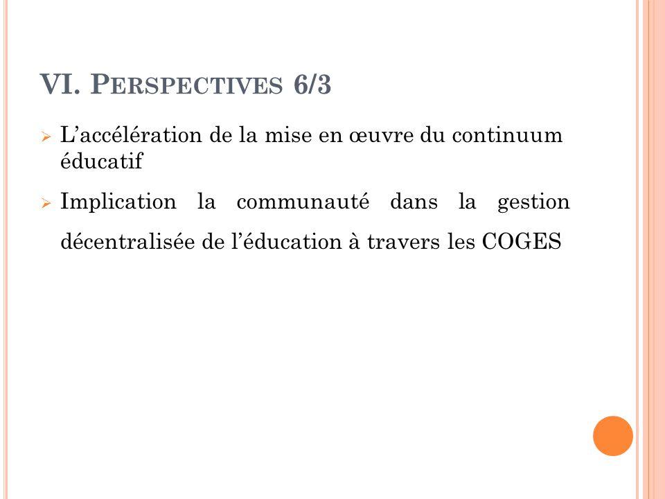 VI. P ERSPECTIVES 6/3  L'accélération de la mise en œuvre du continuum éducatif  Implication la communauté dans la gestion décentralisée de l'éducat
